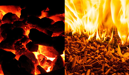 burning coal and biomass pellets